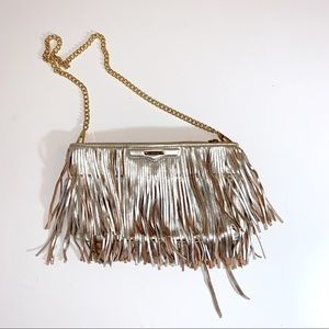 Rebecca Minkoff gold fringe purse with gold chain
